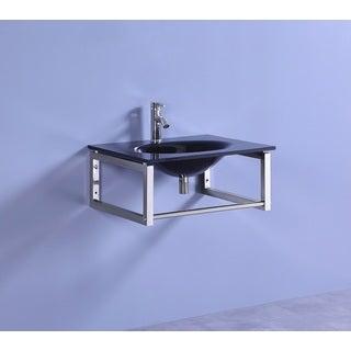 Legion Furniture 24-inch Black Tempered Glass Modern Bathroom Wall Mount Vessel Sink Top
