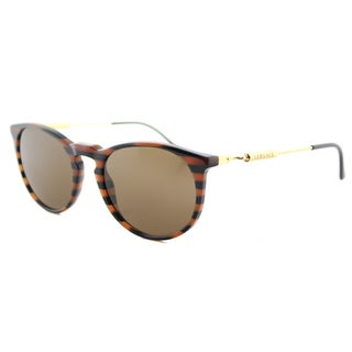 Versace VE 4315 518773 Brown Rule Black Plastic Round Brown Lens Sunglasses