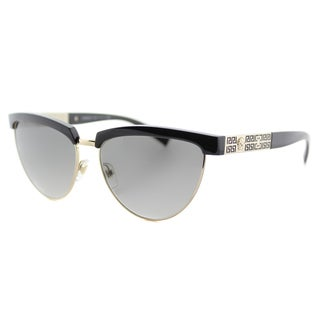 Versace VE 2169 125211 Black Pale Gold Plastic Cat-Eye Grey Gradient Lens Sunglasses