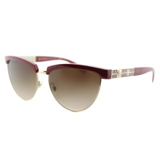 VE 2169 138713 Red Pale Gold Plastic Cat-Eye Brown Gradient Lens Sunglasses