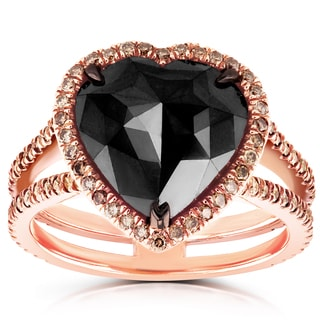 Annello 18k Rose Gold 5ct TDW Black and Brown Diamond Heart Halo Double Shank Ring - Size 7