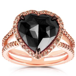 Annello by Kobelli 18k Rose Gold 5ct TDW Black and Brown Diamond Heart Halo Double Shank Ring - Size