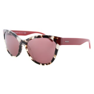 Prada PR 21SS UAO0A0 Spotted Opal Brown Plastic Cat-Eye Dark Violet Lens Sunglasses