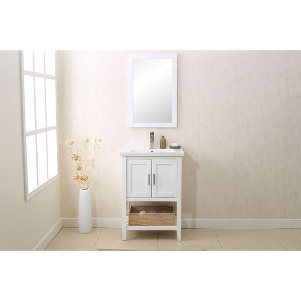 Legion Furniture 24 Inch White Matching Single Sink Vanity Mirror And Upc Faucet Free