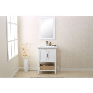 Legion Furniture 24-inch White Matching Single Sink Vanity, Mirror, and UPC Faucet