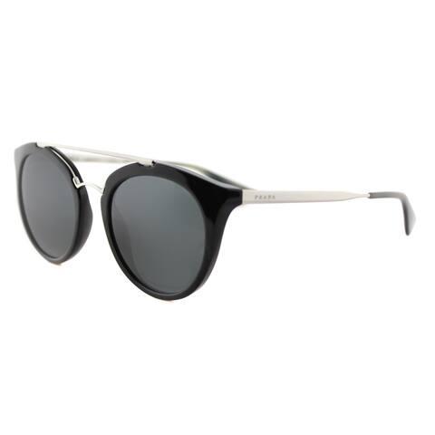 0d0b370db8eb2 Prada PR 23SS 1AB1A1 Cinema Black Plastic Round Grey Lens Sunglasses