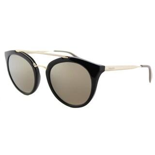 Prada PR 23SS 1AB1C0 Cinema Black Plastic Round Gold Mirror Lens Sunglasses