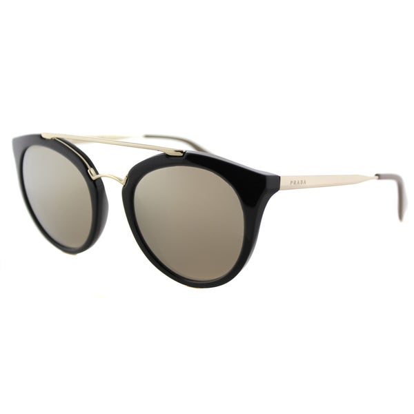 3fd85d1da8 Prada PR 23SS 1AB1C0 Cinema Black Plastic Round Gold Mirror Lens Sunglasses