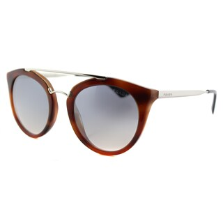 Prada PR 23SS USE5R0 Cinema Striped Light Brown Plastic Round Silver Mirror Lens Sunglasses