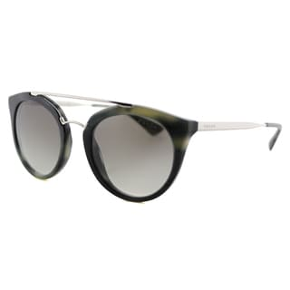 Prada PR 23SS USI0A7 Cinema Striped Grey Plastic Round Grey Gradient Lens Sunglasses