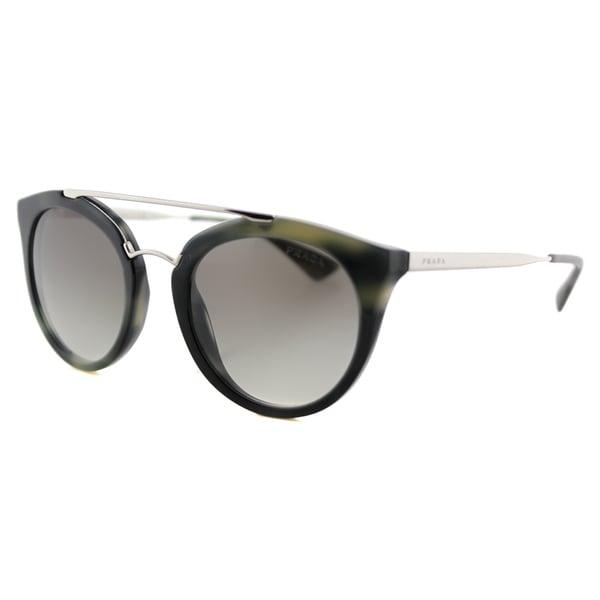 6c5d58b387 Shop Prada PR 23SS USI0A7 Cinema Striped Grey Plastic Round Grey Gradient  Lens Sunglasses - Free Shipping Today - Overstock - 12362998