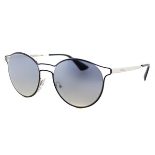 Prada PR 62SS TFM5R0 Cinema Blue Silver Metal Round Blue Silver Mirror Lens Sunglasses
