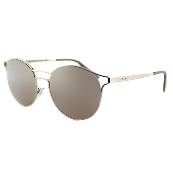 e28176cc81529 Prada PR 62SS ZVN1C0 Cinema Pale Gold Metal Round Gold Mirror Lens  Sunglasses