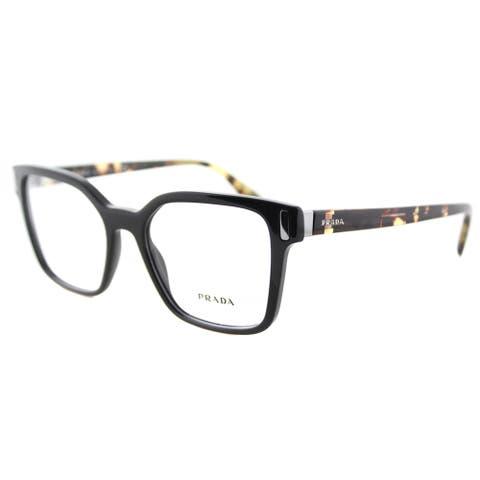 Prada PR 05TV 1AB1O1 Black Plastic 52-millimeter Square Eyeglasses