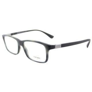 Prada PR 06SV USD1O1 Matte Striped Grey 56mm Plastic Rectangle Eyeglasses