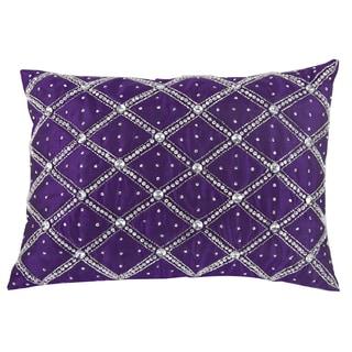 Purple Sateen Cotton 14-inch x 20-inch Rhinestone Throw Pillow