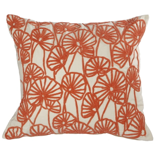Orange 100-percent Cotton 18-inch x 20-inch Embroidered Throw Pillow