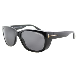 Tom Ford TF 441 01A Carson Black Plastic Rectangle Grey Lens Sunglasses