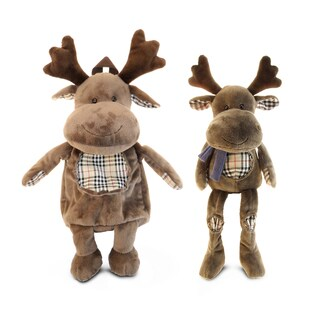 Puzzled 13-inch Sitting Plush Brown Moose and 16-inch Backpack