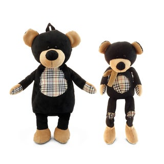 Puzzled 13-inch Plush Sitting Black Bear and 16-inch Backpack