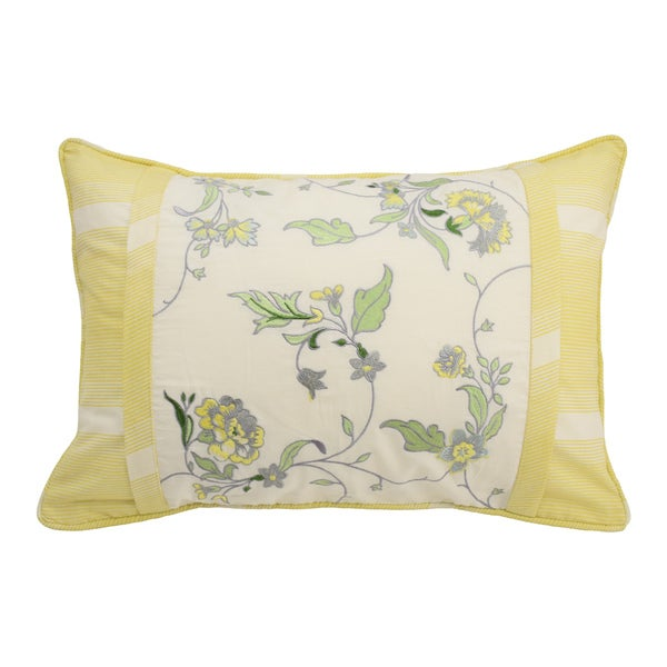 Waverly Paisley Verveine Embroidered Oblong Decorative Throw Pillow