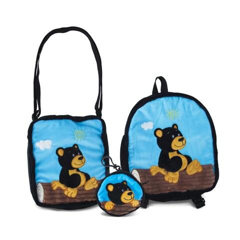 Puzzled Black Bear Collection 3-Piece Coin Bag/Shoulder Bag/Backpack Set