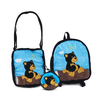 Puzzled Black Bear Collection 3-Piece Coin Bag/Shoulder Bag/Backpack Set