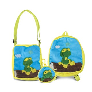 Puzzled Frog Collection Multicolored Soft Fabric Coin Bag, Shoulder Bag and Backpack (Set of 3)