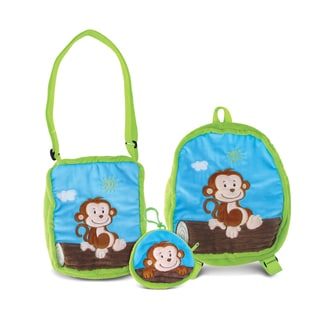 Puzzled Monkey Collection Coin Bag, Shoulder Bag, and Backpack (Pack of 3)