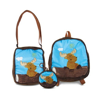 Puzzled Moose Collection 3-piece Coin Bag, Shoulder Bag, and Backpack Set