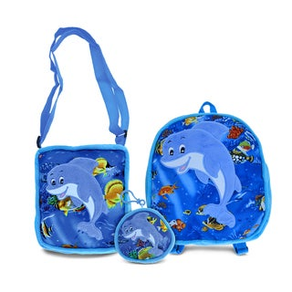 Puzzled Dolphin Collection Set of 3 Coin Bag, Shoulder Bag, and Backpack