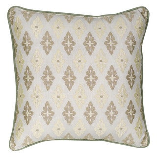 Nostalgia Home Auburn Square Embroidered Cream Medallion Decorative Throw Pillow