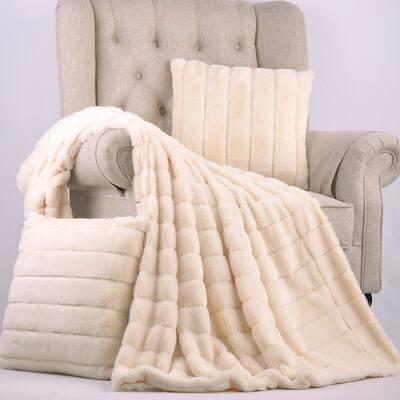 "BOON FakeFur Throw & 2 Pillow Shell Combo Set, 50"" x 60"" & 60"" x 80"""