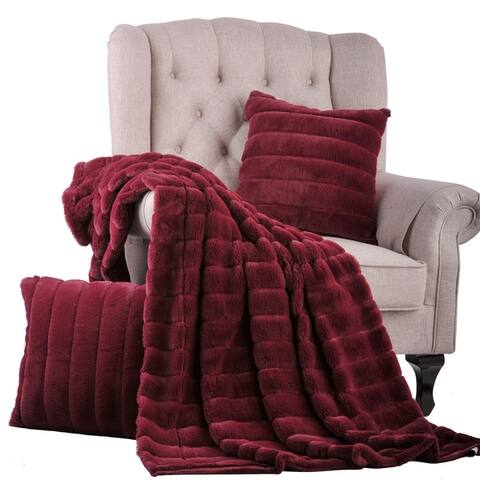 "BOON FakeFur Throw & 2 Pillow Shell Combo Set, 50"" x 60"" & 60"" x 80"""