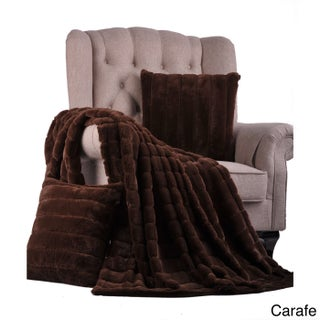 """BOON Rabbit Faux Fur Throw & 2 Pillow Combo Set, 50"""" x 60"""" & 60"""" x 80"""" (More options available)"""