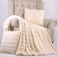 "BOON Rabbit Faux Fur Throw & 2 Pillow Combo Set, 50"" x 60"" & 60"" x 80"""