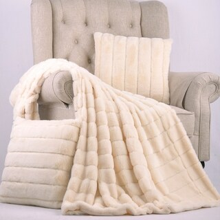 BOON Rabbit Faux Fur Throw & Pillow Combo Set