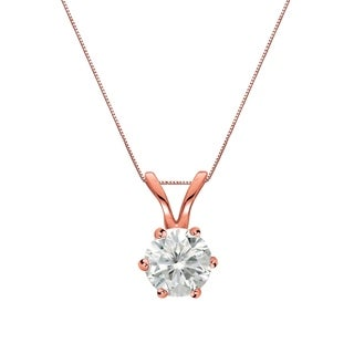 Auriya 14k Gold 1/4ct TDW Round-Cut Diamond 6-Prong Solitaire Necklace (I-J, SI2-SI3)
