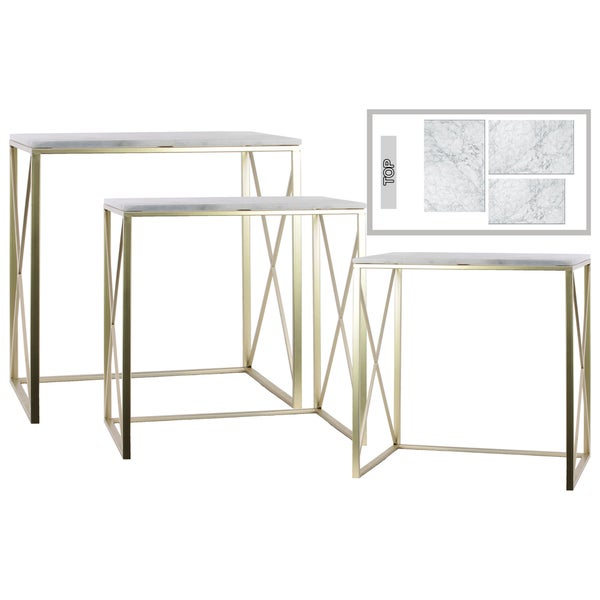 Urban Trends Collection Champagne Metal Rectangular Nesting Console Tables  With Marble Top And 2 Rectangle Legs