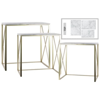 Urban Trends Collection Champagne Metal Rectangular Nesting Console Tables with Marble Top and 2 Rectangle Legs (Set of 3)