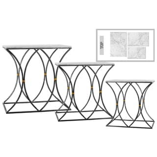 Urban Trends Collection Rectangular Metallic Black-finish Metal with Marble Top 3-piece Curved-leg Nesting Console Table Set