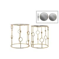 Gold Metal Round Nesting Accent Tables with Mirror Top (Set of 2)
