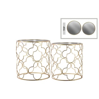 Urban Trends Gold Metallic Finish Metal Round Mirror Top 2-piece Nesting Accent Tables