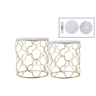 Urban Trends Collection Goldtone Metal Round Nesting Accent Tables with Marble Top and Lattice Quatrefoil Body Design (Set of 2)