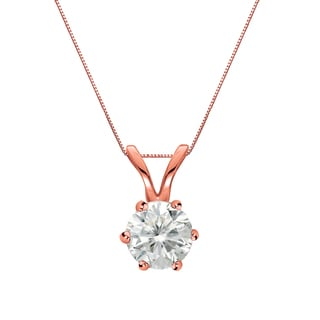 Auriya 14k Gold 1/3ct TDW Round-Cut Diamond 6-Prong Solitaire Necklace (I-J, SI2-SI3)