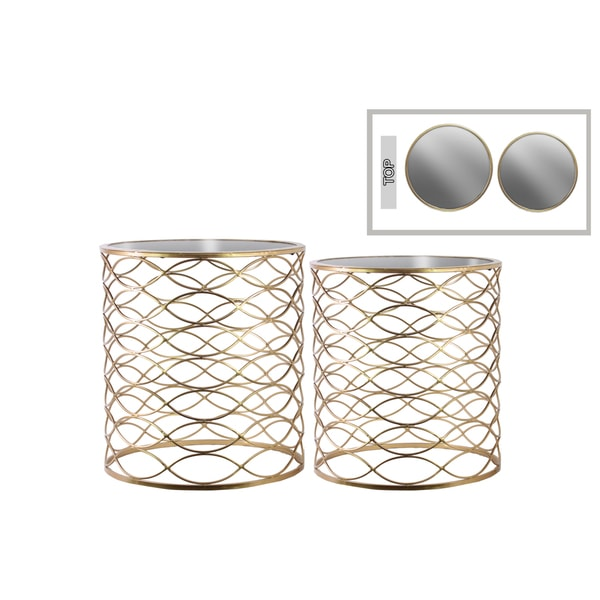 Set Of 2 Square Design Nesting Coffee Tables Made Of Black: Urban Trends Collection Goldtone Metal Round Nesting