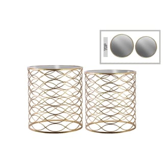 Urban Trends Collection Goldtone Metal Round Nesting Accent Tables with Mirror Top and Lattice Wave Body Design Body (Set of 2)