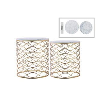 Urban Trends Gold Metallic Finish Metal Round Marble Top 2-piece Nesting Accent Table Set