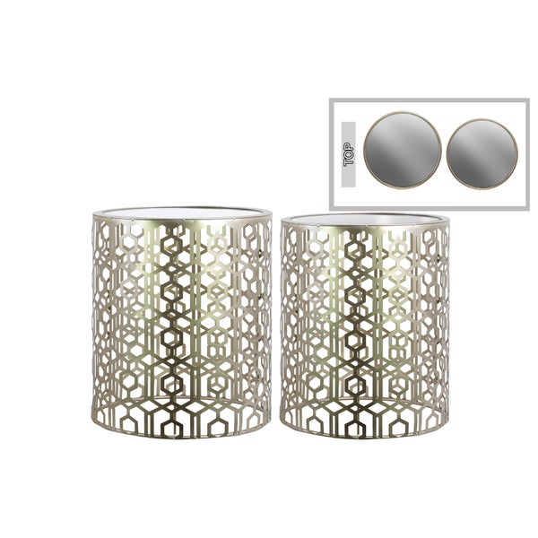 Champagne finish Metal Round Nesting Accent Table With Mirrored Top And Lattice design Body Set