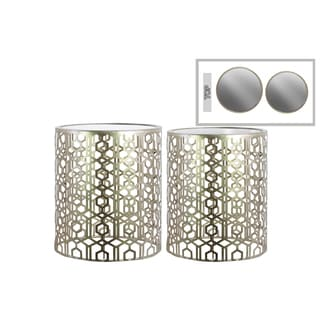 Champagne-finish Metal Round Nesting Accent Table with Mirrored Top and Lattice-design Body (Set of 2)